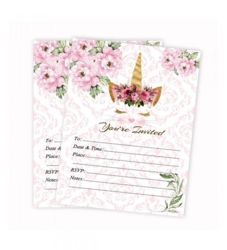 Unicorn Birthday Invitations Invites Envelopes