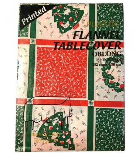 Flannel Plastic Christmas Reusable Tablecover