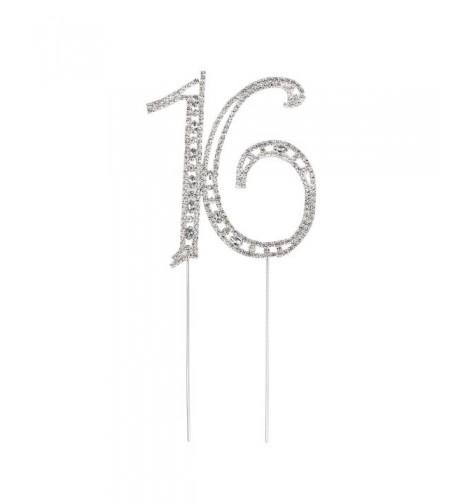 Pixnor Rhinestone Sixteen Birthday Decoration