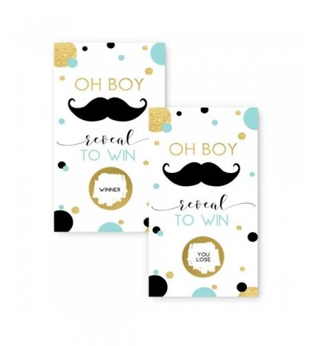 Mustache Baby Shower Scratch Cards