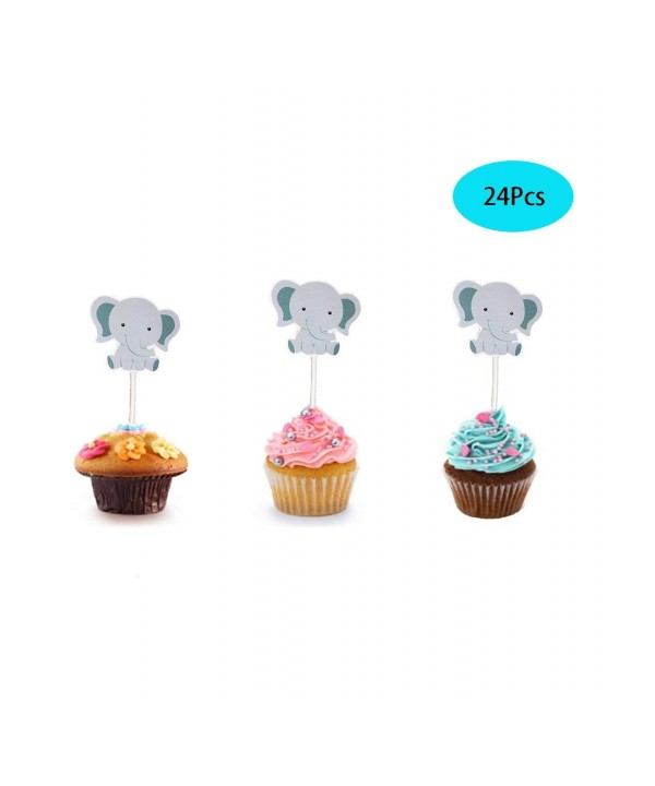 Elephant Cupcake Toppers Birthday Shower