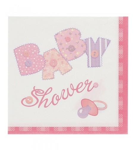 Pink Stitching Shower Luncheon Napkins