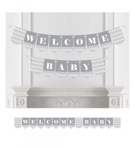 Chevron Gray Bunting Decorations Welcome