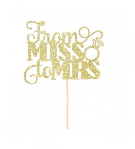 Gold Glitter Miss Cake Topper