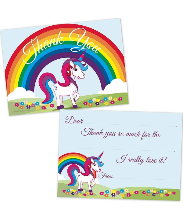 Rainbow Unicorn Birthday Thank Envelopes
