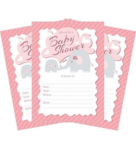 Elephant Pink Baby Shower Invitations