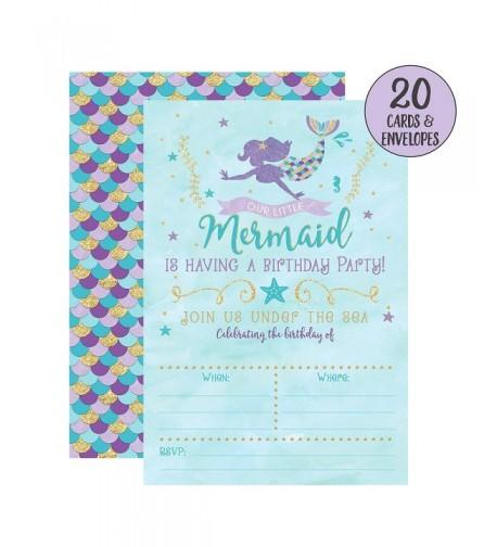 Mermaid Birthday Invitations Party Envelopes