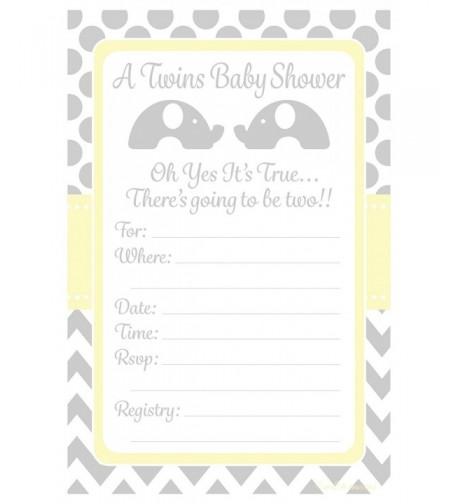 Twins Shower Invitations Elephant Design x