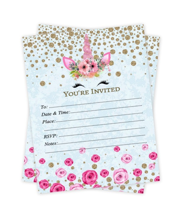 Unicorn Birthday Invitations Count Envelopes