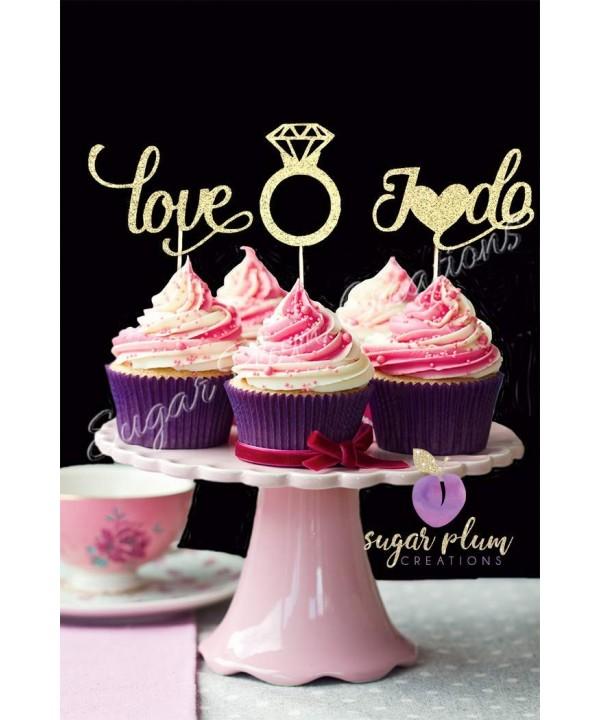 Set 12 Bridal Cupcake Toppers