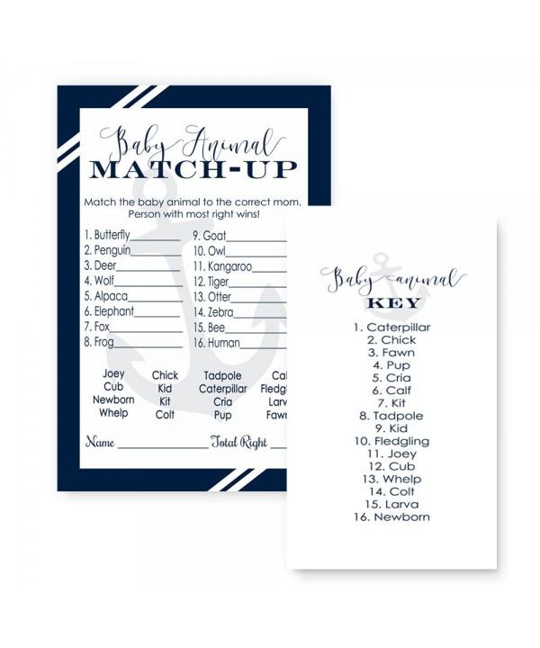 Nautical Shower Animal Match Cards