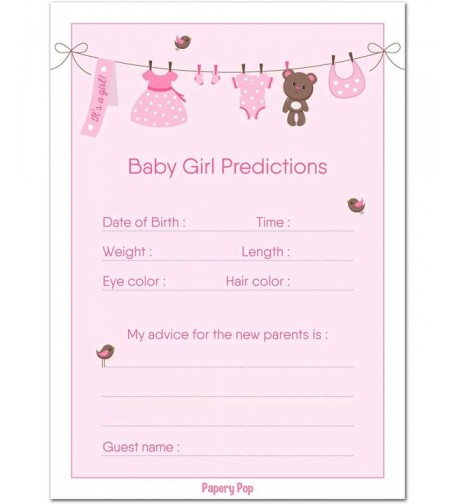 Baby Shower Prediction Advice Cards
