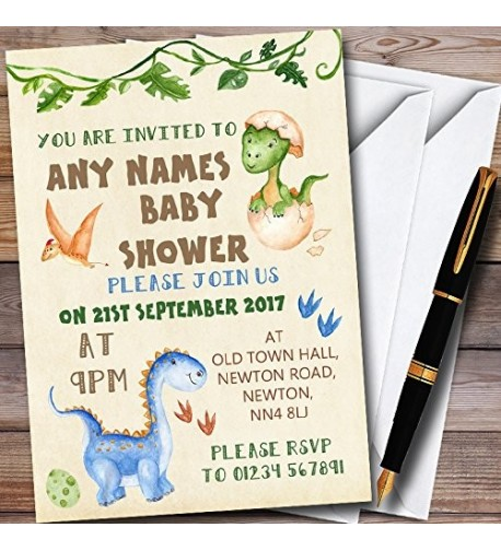 Watercolour Dinosaur Personalized Shower Invitations