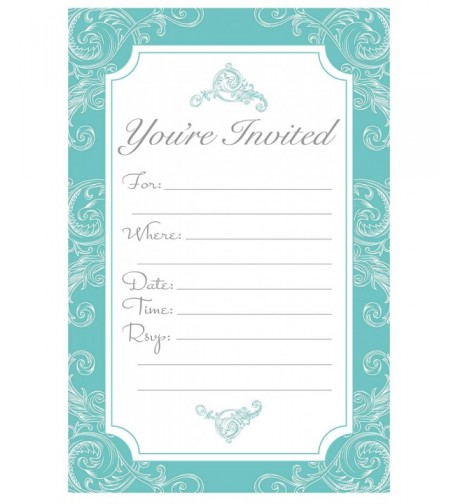 Elegant Turquoise Fill Invitations Engagement