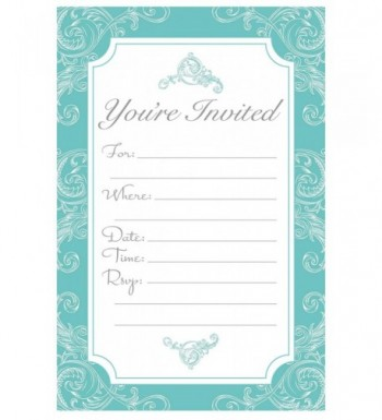 Elegant Turquoise Fill Invitations Engagement