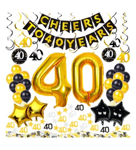 40th Birthday Decorations Kit Pieces