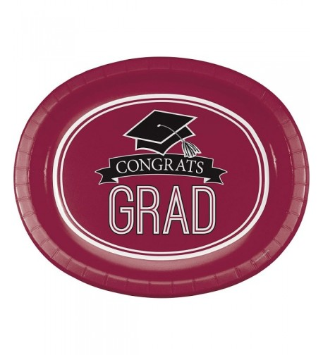 Graduation School Spirit Burgundy Plates
