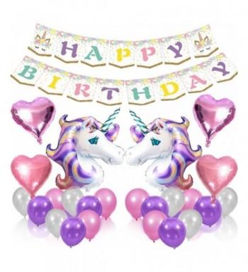 Unicorn Balloons Birthday Banner Supplies