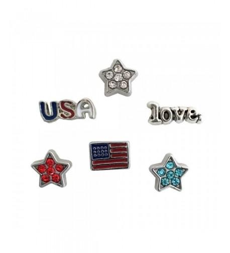 Patriotic USA Floating Locket Charms