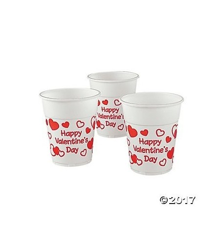 Valentines Plastic Disposable Cups Party Supplies Tableware