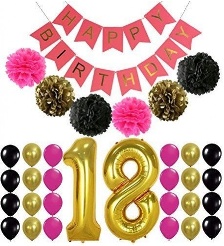 18th BIRTHDAY BANNER POMPOM DECORATIONS