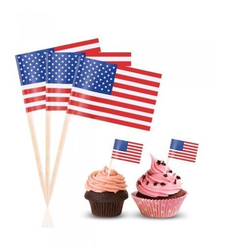 BESTOYARD American Cupcake Birthday Toothpicks
