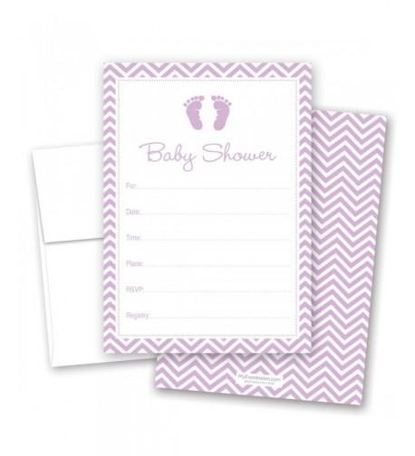 Purple Footprint Fill Shower Invitations