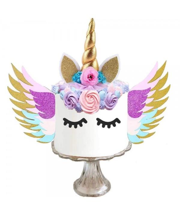 Unicorn Cake Topper Wings Eyelashes
