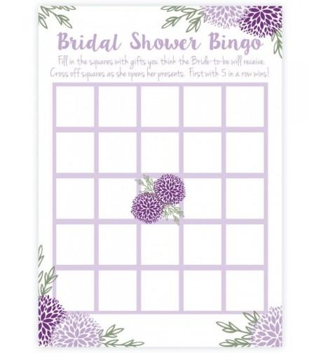 Purple Floral Bridal Shower Bingo