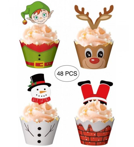 Christmas Cupcake Toppers Wrappers Supplies