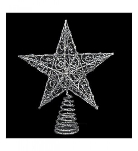 Chirstmas Topper Silver Glittered inches