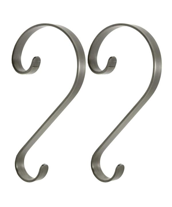 2 Piece Pewter Scroll Stocking Hanger