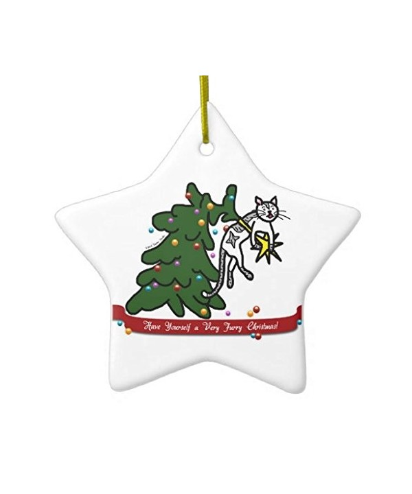christmas ornaments funny furry christmas tree catastrophe cat cartoon holiday tree ornament both sides star ceramic ornament crafts christmas gifts cp12nroc7j8 seasonal decor