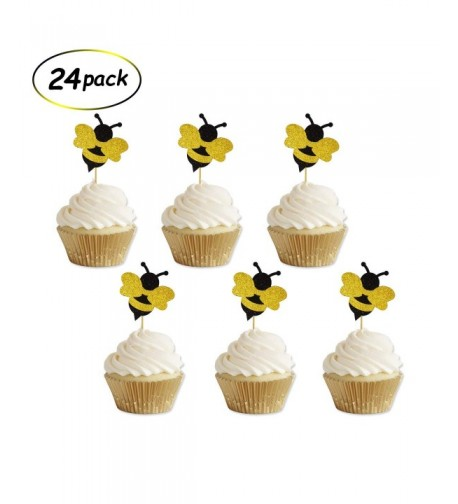 Glitter Bumble Cupcake Toppers Birthday