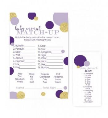 Purple Animal Match Shower Cards
