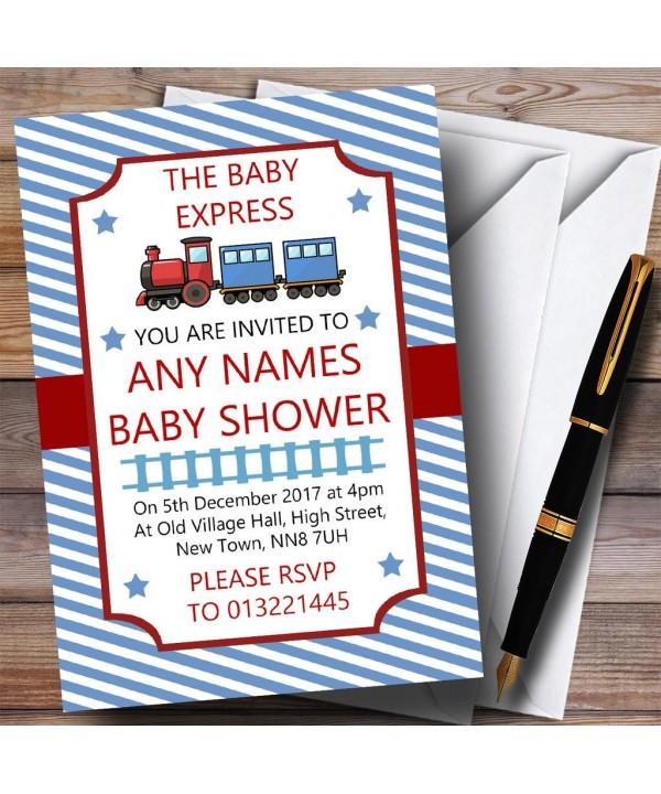 Blue Stripy Train Invitations Shower