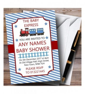 Blue Stripy Train Invitations Shower