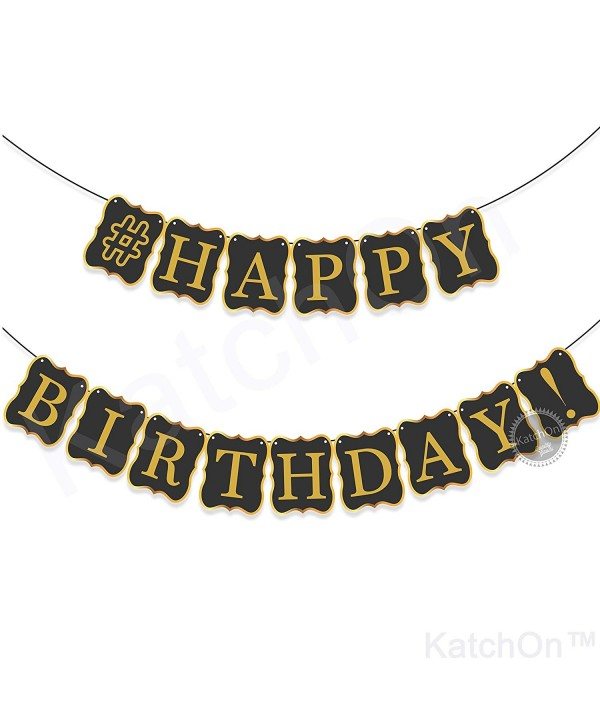 BLACK HAPPY BIRTHDAY BANNER DECORATIONS