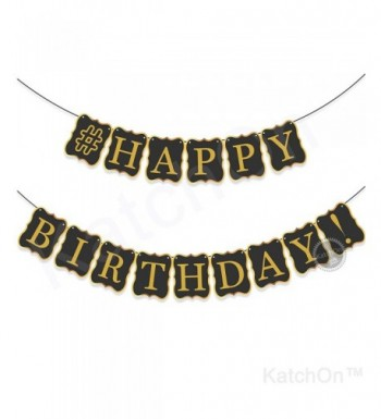 BLACK HAPPY BIRTHDAY BANNER DECORATIONS