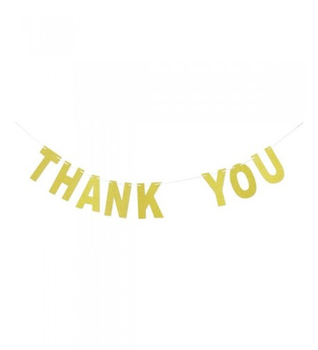 Thank Banner Gold Glitter Bunting