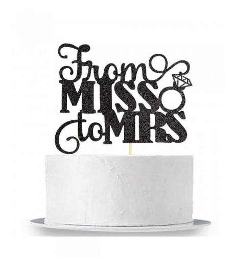 Black Glitter Miss Cake Topper