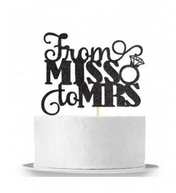 Black Glitter Miss Cake Topper