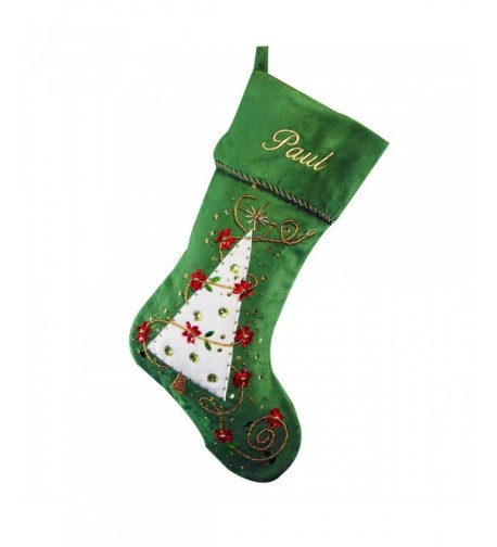 GiftsForYouNow Embroidered Green Christmas Stocking