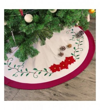 Ivenf Embroidery Poinsettia Traditional Decorations