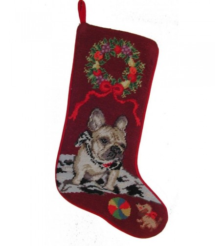 French Bulldog Needlepoint Christmas Stocking