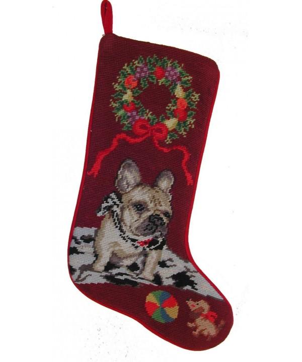 French Bulldog Needlepoint Christmas Stocking