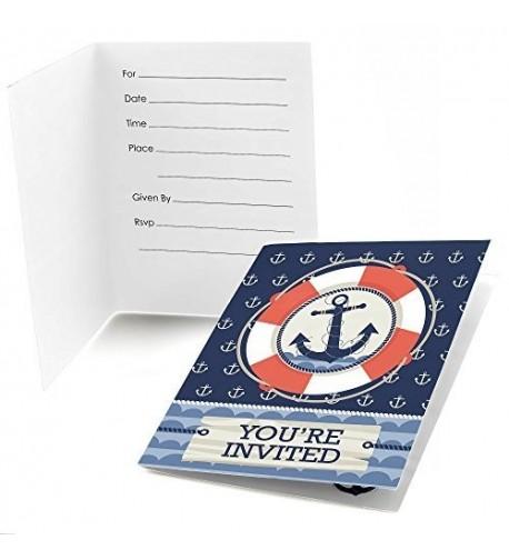 Ahoy Nautical Shower Birthday Invitations