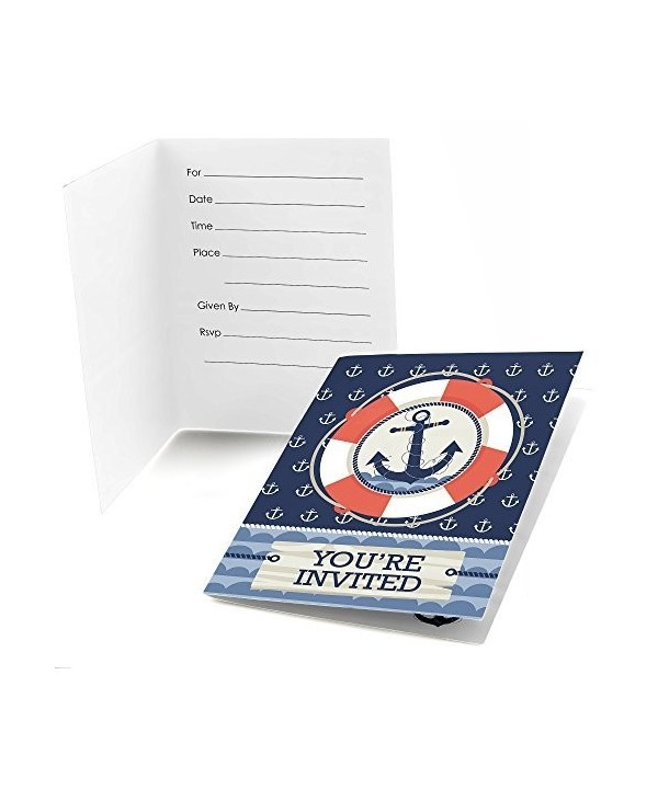 Ahoy Nautical Shower Birthday Invitations