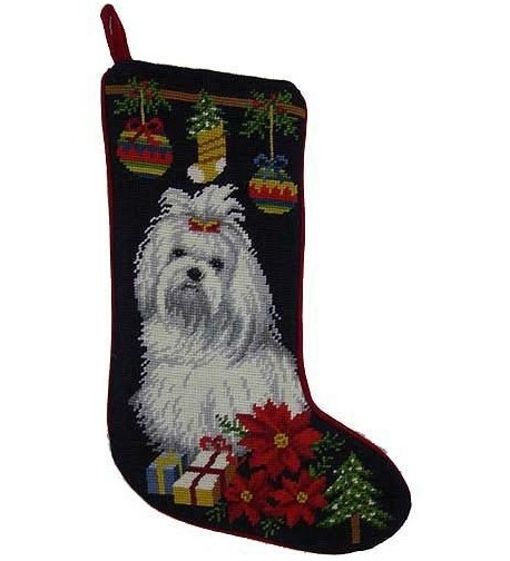 Maltese Christmas Stocking Hand Stiched Needlpoint