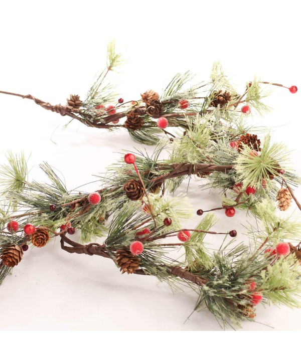 Garland Mixture Burgundy Frosted Pinecones